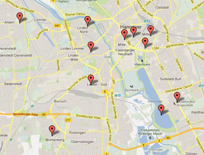 Orte der Erinnerung in Hannover nach Google Maps™-Kartenservice